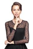 Αναδρομική γυναίκα με το δάχτυλο στα χείλια Στοκ φωτογραφία με δικαίωμα ελεύθερης χρήσης