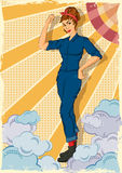 Αναδρομική γυναίκα που παρουσιάζει δύναμη μπορούμε να κάνουμε την ΤΠ Στοκ Εικόνα