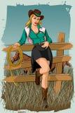 Αναδρομική γυναίκα στο αγρόκτημα αλόγων Στοκ Εικόνες
