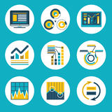 Αναδρομική επίπεδη επιχείρηση Infographics ύφους σχεδίου στοιχείων Στοκ Εικόνες