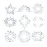 Αναδρομική ηλιοφάνεια, ακτινοβόλο starburst, εκλεκτής ποιότητας αφηρημένο διανυσματικό σύνολο γραμμών ηλιοφάνειας ελεύθερη απεικόνιση δικαιώματος