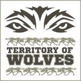 Αναδρομική διακόσμηση - λύκοι και επιγραφές τρεξίματος ελεύθερη απεικόνιση δικαιώματος