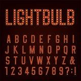 Αναδρομική διανυσματική πηγή αλφάβητου Lightbulb Στοκ φωτογραφίες με δικαίωμα ελεύθερης χρήσης