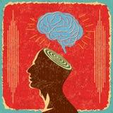 Αναδρομική ιδέα με τον ανθρώπινο εγκέφαλο ελεύθερη απεικόνιση δικαιώματος