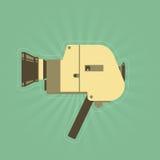 Αναδρομική κάμερα ταινιών χεριών στο απλό ύφος Στοκ Εικόνα