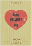 Αναδρομική κάρτα ημέρας βαλεντίνων με την καρδιά grunge σε Vin Στοκ Φωτογραφίες
