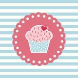 Αναδρομική κάρτα με το cupcake Στοκ Εικόνες