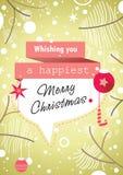 Αναδρομική κάρτα Χριστουγέννων ελιών πράσινη Στοκ Εικόνες