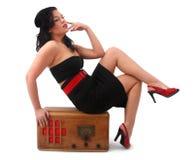 Αναδρομική καρφίτσα επάνω στο κορίτσι Στοκ εικόνες με δικαίωμα ελεύθερης χρήσης