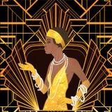 Αναδρομική μόδα: κορίτσι γοητείας της γυναίκας αφροαμερικάνων δεκαετιών του '20 διανυσματική απεικόνιση