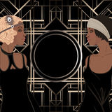 Αναδρομική μόδα: κορίτσι γοητείας των δεκαετιών του '20 (γυναίκα αφροαμερικάνων) διανυσματική απεικόνιση