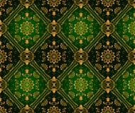 Αναδρομική πράσινη ταπετσαρία. Άνευ ραφής Στοκ Εικόνες