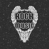 Αναδρομική τυπωμένη ύλη μπλουζών ή κάλυψη δίσκων μουσικής με τα φτερά και grunge τη σύσταση αγγέλου Στοκ Εικόνα