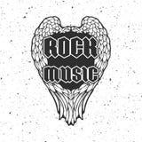 Αναδρομική τυπωμένη ύλη μπλουζών ή κάλυψη δίσκων μουσικής με τα φτερά και grunge τη σύσταση αγγέλου Στοκ φωτογραφίες με δικαίωμα ελεύθερης χρήσης