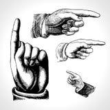 Αναδρομική υπόδειξη Τρύγος και κατεύθυνση, δάχτυλο-υπόδειξη και παρουσίαση ελεύθερη απεικόνιση δικαιώματος