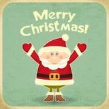 Αναδρομική Χαρούμενα Χριστούγεννα με Άγιο Βασίλη διανυσματική απεικόνιση