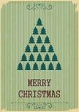 Αναδρομική Χαρούμενα Χριστούγεννα με τα χριστουγεννιάτικα δέντρα σε ένα εκλεκτής ποιότητας backgrou Στοκ Φωτογραφία