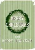 Αναδρομική Χαρούμενα Χριστούγεννα με το στεφάνι Χριστουγέννων σε ένα εκλεκτής ποιότητας backgro Στοκ φωτογραφία με δικαίωμα ελεύθερης χρήσης