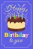 Αναδρομική χρόνια πολλά διανυσματική ευχετήρια κάρτα κομμάτων με το κέικ κινούμενων σχεδίων και τα μμένα κεριά διανυσματική απεικόνιση