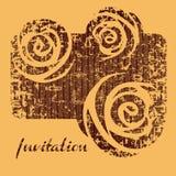 Αναδρομική grunge κάρτα πρόσκλησης λουλουδιών διανυσματική Στοκ Φωτογραφία