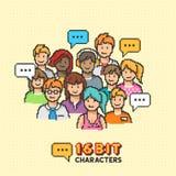 Αναδρομικοί δεκαεξάμπιτοι χαρακτήρες ανθρώπων Στοκ φωτογραφία με δικαίωμα ελεύθερης χρήσης