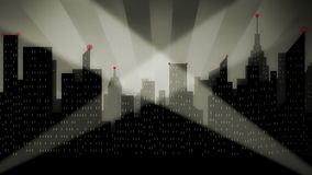 Αναδρομικοί προβολείς πρεμιέρας εικονικής παράστασης πόλης Noir ελεύθερη απεικόνιση δικαιώματος