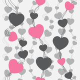 αναδρομικός άνευ ραφής προτύπων Ρόδινα καρδιές και σημεία στο μπεζ υπόβαθρο Στοκ φωτογραφίες με δικαίωμα ελεύθερης χρήσης