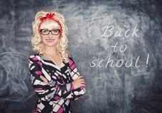Αναδρομικός δάσκαλος στο χαμόγελο γυαλιών Στοκ Εικόνες