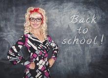 Αναδρομικός δάσκαλος στο χαμόγελο γυαλιών Στοκ Φωτογραφία