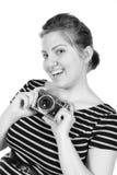 Αναδρομικός μονοχρωματικός όμορφος φωτογράφος γυναικών στοκ εικόνες με δικαίωμα ελεύθερης χρήσης
