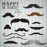 Αναδρομικός/εκλεκτής ποιότητας mustache θέστε για την ευτυχή ημέρα movember απεικόνιση αποθεμάτων