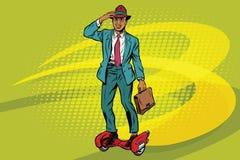 Αναδρομικός επιχειρηματίας skateboard πυραύλων steampunk Ελεύθερη απεικόνιση δικαιώματος