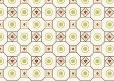 Αναδρομικός κύκλος λουλουδιών και τετραγωνικό σχέδιο Στοκ Εικόνες