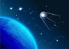 Αναδρομικός δορυφόρος στο διάστημα Cosmonautics ημέρα Πρώτος δορυφόρος στο διάστημα διανυσματική απεικόνιση