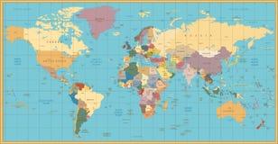 Αναδρομικός πολιτικός παγκόσμιος χάρτης χρώματος Στοκ Εικόνες