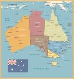 Αναδρομικός πολιτικός χάρτης χρώματος της Αυστραλίας διανυσματική απεικόνιση