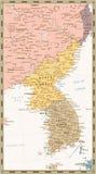 Αναδρομικός πολιτικός χάρτης χρώματος της χερσονήσου της Κορέας, χάρτης του Βορρά Στοκ φωτογραφίες με δικαίωμα ελεύθερης χρήσης