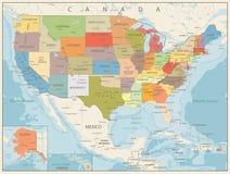 Αναδρομικός πολιτικός χάρτης χρώματος των ΗΠΑ Στοκ Φωτογραφία