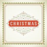 Αναδρομικός τυπογραφικός Χριστουγέννων και ακμάζει Στοκ φωτογραφίες με δικαίωμα ελεύθερης χρήσης