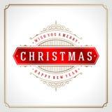 Αναδρομικός τυπογραφικός Χριστουγέννων και ακμάζει Στοκ Φωτογραφίες