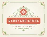 Αναδρομικός τυπογραφικός Χριστουγέννων και ακμάζει Στοκ εικόνες με δικαίωμα ελεύθερης χρήσης