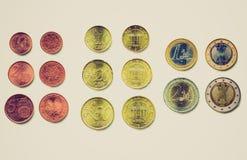 Αναδρομικός φανείτε ευρο- νομίσματα Στοκ φωτογραφία με δικαίωμα ελεύθερης χρήσης