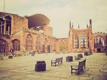 Αναδρομικός φανείτε καταστροφές καθεδρικών ναών του Κόβεντρυ Στοκ φωτογραφία με δικαίωμα ελεύθερης χρήσης