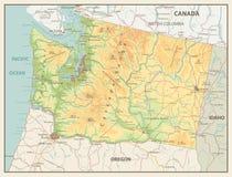 Αναδρομικός χάρτης χρώματος του πολιτεία της Washington Στοκ Εικόνα