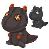Αναδρομικός χειροποίητος μαλακός μαύρος δράκος παιχνιδιών διάνυσμα διανυσματική απεικόνιση