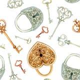 Αναδρομικό άνευ ραφής σχέδιο κλειδιών και κλειδαριών Στοκ Φωτογραφία