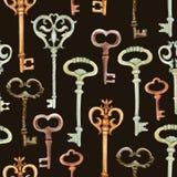 Αναδρομικό άνευ ραφής σχέδιο κλειδιών Στοκ εικόνες με δικαίωμα ελεύθερης χρήσης