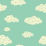 Αναδρομικό άνευ ραφής σχέδιο με τα σπειροειδή σύννεφα Στοκ Εικόνες