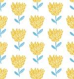 Αναδρομικό άνευ ραφής σχέδιο λουλουδιών, Σκανδιναβικό ύφος Κίτρινα και μπλε χρώματα κρητιδογραφιών πράσινη σύσταση προτύπων φύσης Στοκ Φωτογραφίες