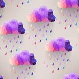 Αναδρομικό άνευ ραφής σχέδιο σύννεφων με το σύμβολο βροχής, hipster backgroun Στοκ Φωτογραφίες